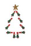 Δενδρώδη clothespins Χριστουγέννων Στοκ Εικόνες