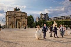 Δεξίωση γάμου του Παρισιού, Γαλλία στις 26 Μαΐου 2015 κοντά στο Λούβρο Στοκ εικόνες με δικαίωμα ελεύθερης χρήσης