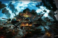 Δεξαμενή μάχης στη ζώνη πολέμου Στοκ εικόνα με δικαίωμα ελεύθερης χρήσης