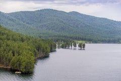 Δεξαμενή Pactola με τα καλυμμένα δέντρο βουνά πεύκων Στοκ εικόνα με δικαίωμα ελεύθερης χρήσης