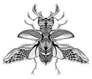 Δερματοστιξία ελάφι-κανθάρων psychedelic, zentangle ύφος Στοκ φωτογραφία με δικαίωμα ελεύθερης χρήσης