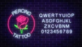 Δερματοστιξία και διαπεραστικοη πινακίδα νέου αιθουσών καμμένος με το ροδαλό έμβλημα και το αλφάβητο Σύμβολο λουλουδιών στο πλαίσ διανυσματική απεικόνιση