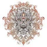 Δερματοστιξία, κεφάλι γραφικής παράστασης ενός λιονταριού με έναν Μάιν διανυσματική απεικόνιση