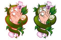Δερματοστιξία με ένα φίδι και ένα χέρι ελεύθερη απεικόνιση δικαιώματος