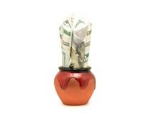 Δεσμοί εκατό του δολαρίου Bill όπως τις εγκαταστάσεις σε ένα δοχείο Στοκ φωτογραφία με δικαίωμα ελεύθερης χρήσης