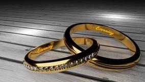 Δεσμός γάμου για πάντα - τα χρυσά γαμήλια δαχτυλίδια ένωσαν μαζί για πάντα με χαραγμένος και να φορέσουν γάντια λέξεις διανυσματική απεικόνιση
