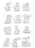 Δεσμός μασκότ penguin, σκίτσα και σκίτσα μολυβιών και doodles Στοκ εικόνες με δικαίωμα ελεύθερης χρήσης