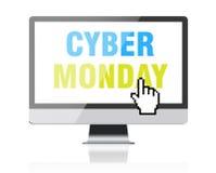 Δευτέρα Cyber - κείμενο στη οθόνη υπολογιστή με το δρομέα εικονοκυττάρου Στοκ φωτογραφίες με δικαίωμα ελεύθερης χρήσης