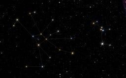 Δευτερεύοντες αστερισμοί καρκίνου και Canis Στοκ Φωτογραφία