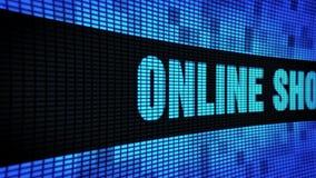 Δευτερεύον κείμενο on-line αγορών που τυλίγει τον πίνακα σημαδιών οθόνης τοίχων των οδηγήσεων απόθεμα βίντεο