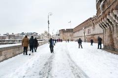 Δευτερεύουσα χειμερινή άποψη του ST Angelo Castle στη Ρώμη Στοκ φωτογραφία με δικαίωμα ελεύθερης χρήσης