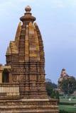 Δευτερεύων θόλος του ινδού ναού σε Khajuraho της Ινδίας. Στοκ Εικόνες