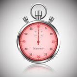 60 δευτερόλεπτα Ασημένιο ρεαλιστικό χρονόμετρο με διακόπτη με την αντανάκλαση διάνυσμα διανυσματική απεικόνιση