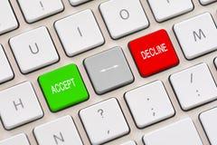 Δεχτείτε ή μειωθείτε επιλογή στο πληκτρολόγιο Στοκ φωτογραφία με δικαίωμα ελεύθερης χρήσης