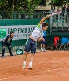 Δεύτερος κύκλος παιχνιδιών του Dusan Lajovic στο Roland Garros 2014 στοκ φωτογραφίες