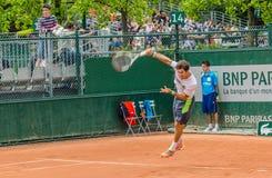 Δεύτερος κύκλος παιχνιδιών του Dusan Lajovic στο Roland Garros 2014 στοκ φωτογραφία με δικαίωμα ελεύθερης χρήσης