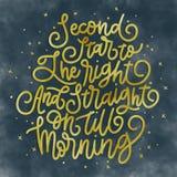 Δεύτερο αστέρι στο δικαίωμα και κατευθείαν μέχρι το πρωί διανυσματική απεικόνιση