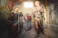 Δεύτερο όνειρο Αγίου Joseph - βιβλική αντιπροσώπευση σκηνής presepe Στοκ Φωτογραφίες