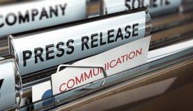 Δελτίο τύπου, επικοινωνία επιχείρησης με τα μέσα Στοκ Εικόνες