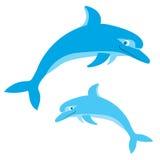 Δελφίνια που πηδούν μέσα. Διάνυσμα που απομονώνεται στο λευκό Στοκ φωτογραφία με δικαίωμα ελεύθερης χρήσης