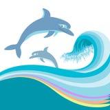 Δελφίνια που πηδούν στα κύματα θάλασσας. Διάνυσμα που απομονώνεται στο W Στοκ φωτογραφία με δικαίωμα ελεύθερης χρήσης