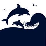 Δελφίνια που πηδούν στο μεγάλο κύμα θάλασσας. Διάνυσμα silhouete  Στοκ Εικόνα