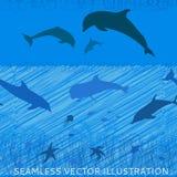 Δελφίνια scrawl άνευ ραφής Στοκ Φωτογραφίες