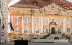 Δημαρχείο και πανεπιστήμιο με ένα τετράγωνο και τις σημαίες στοκ φωτογραφίες με δικαίωμα ελεύθερης χρήσης