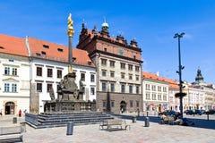 Δημαρχείο και στήλη πανούκλας, Plzen, Τσεχία Στοκ Φωτογραφίες