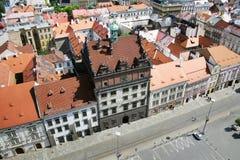 Δημαρχείο και στήλη πανούκλας, Plzen, Τσεχία Στοκ Εικόνα