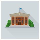 Δημαρχείο που χτίζει την επίπεδη διανυσματική απεικόνιση σχεδίου απεικόνιση αποθεμάτων