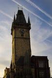 Δημαρχείο στην Πράγα με το αστρονομικό ρολόι Στοκ Εικόνες