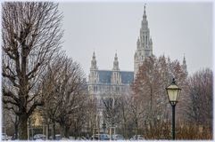 Δημαρχείο στη Βιέννη, Αυστρία στην παραμονή Χριστουγέννων στοκ φωτογραφία με δικαίωμα ελεύθερης χρήσης