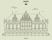 Δημαρχείο στη Βρέμη, Γερμανία Εικονίδιο ορόσημων στοκ εικόνα