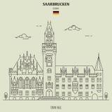 Δημαρχείο στη Σάαρμπρουκεν, Γερμανία Εικονίδιο ορόσημων στοκ εικόνες