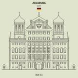 Δημαρχείο του Άουγκσμπουργκ, Γερμανία Εικονίδιο ορόσημων στοκ εικόνες