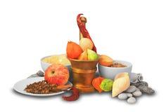 Δημητριακά και μερικά φρούτα στο επιτραπέζιο σκεύος Στοκ εικόνες με δικαίωμα ελεύθερης χρήσης