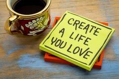 Δημιουργήστε μια ζωή που αγαπάτε τις συμβουλές ή την υπενθύμιση Στοκ Φωτογραφίες