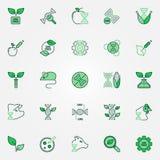 Δημιουργικά διανυσματικά εικονίδια ΓΤΟ καθορισμένα Γενετικά σημάδια τροποποίησης διανυσματική απεικόνιση