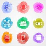 Δημιουργικά χρωματισμένα εικονίδια για την αγορά χρηματοδότησης Ιστού διανυσματική απεικόνιση