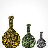 Δημιουργικά floral μπουκάλια κρασιού Στοκ Φωτογραφίες