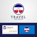 Δημιουργικές λογότυπο και επαγγελματική κάρτα σημαιών κύκλων ταξιδιού Los Altos des απεικόνιση αποθεμάτων
