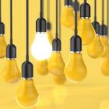 Δημιουργική λάμπα φωτός έννοιας ιδέας και ηγεσίας Στοκ Εικόνα