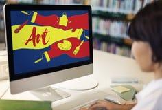 Δημιουργική έννοια έργου τέχνης τέχνης σχεδίου χρώματος Στοκ φωτογραφίες με δικαίωμα ελεύθερης χρήσης