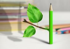 Δημιουργική έννοια ιδέας, μολύβι με τον κλάδο και φύλλα στον πίνακα Στοκ φωτογραφία με δικαίωμα ελεύθερης χρήσης