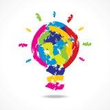 Δημιουργική έννοια ιδέας με το χρωματισμένο βολβό Στοκ Εικόνες
