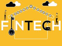 Δημιουργική έννοια Fintech του Word και επιχειρηματίες που κάνουν τις σχετικές δραστηριότητες διανυσματική απεικόνιση