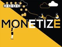 Δημιουργική έννοια Monetize του Word και άνθρωποι που κάνουν τις πολλαπλάσιες δραστηριότητες διανυσματική απεικόνιση