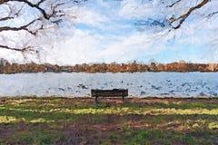 Δημιουργική απεικόνιση - απομονωμένος πάγκος πάρκων μπροστά από έναν ποταμό - ελαιογραφία απεικόνιση αποθεμάτων