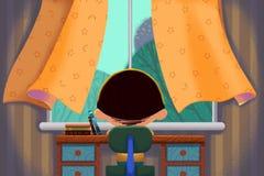 Δημιουργική απεικόνιση και καινοτόμος τέχνη: Μικρό παιδί μπροστά από το παράθυρο απεικόνιση αποθεμάτων